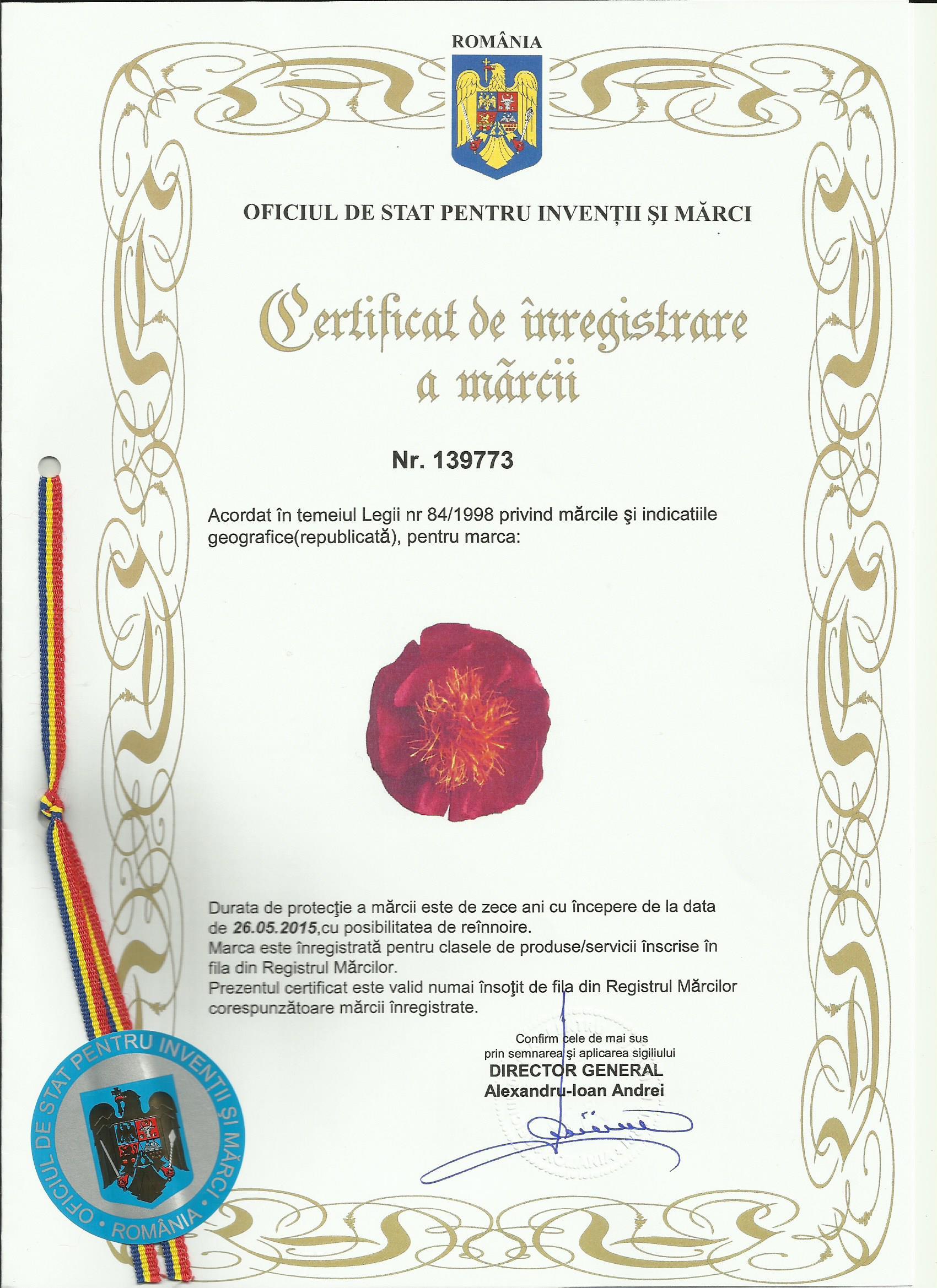 CERTIFICAT DE INREGISTRARE A MARCII0001